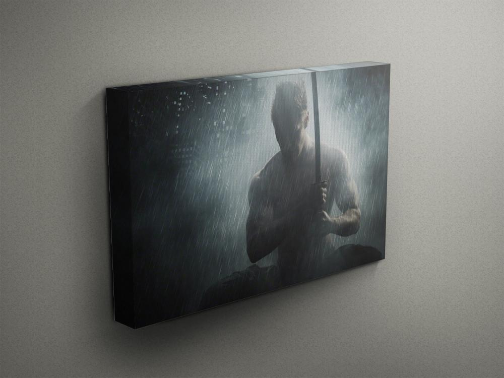 "Superhero Posing with Sword - Fine Art Photograph on Gallery Wrapped Canvas - 16x12"" & more"
