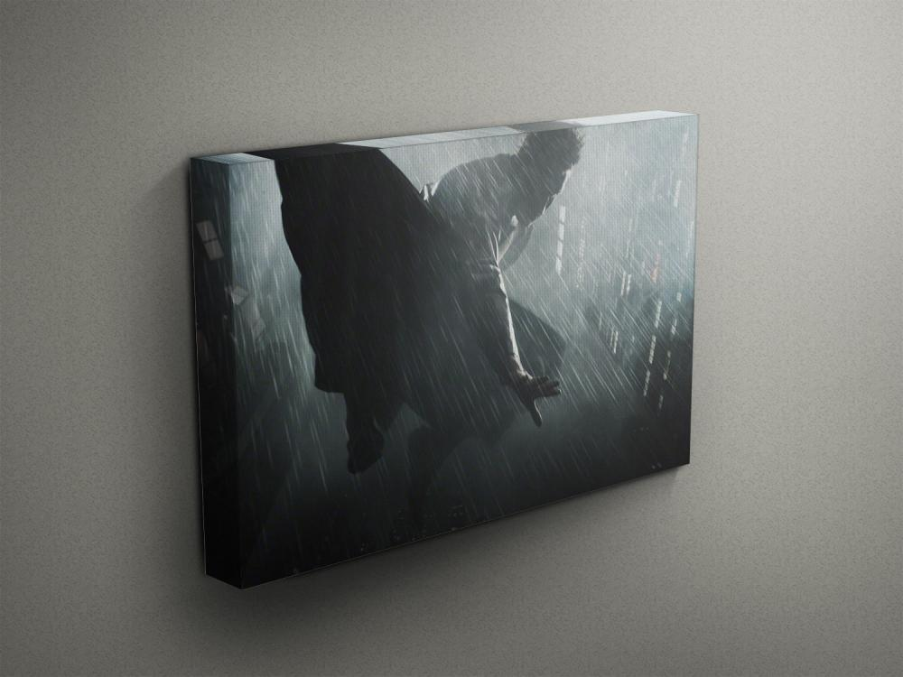 """Superhero Flying Through The Rain - Fine Art Photograph on Gallery Wrapped Canvas - 16x12"""" & more"""