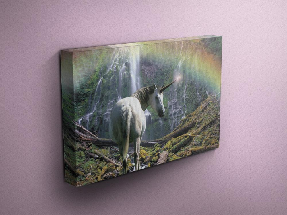 """Unicorn Near Waterfall with Rainbow - Fine Art Photograph on Gallery Wrapped Canvas - 16x12"""" & more"""