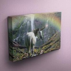 "Unicorn Near Waterfall with Rainbow - Fine Art Photograph on Gallery Wrapped Canvas - 16x12"" & more"