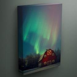 """Northern Lights over a barn in Alaska - Fine Art Photograph on Gallery Wrapped Canvas - 16x12"""" & more"""