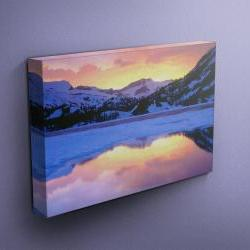 """Icy Lake in Mountains - Fine Art Photograph on Gallery Wrapped Canvas - 16x12"""" & more"""